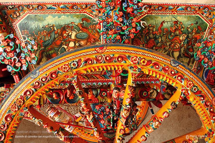 Sponda di carretto con magnifica decorazione pittorica